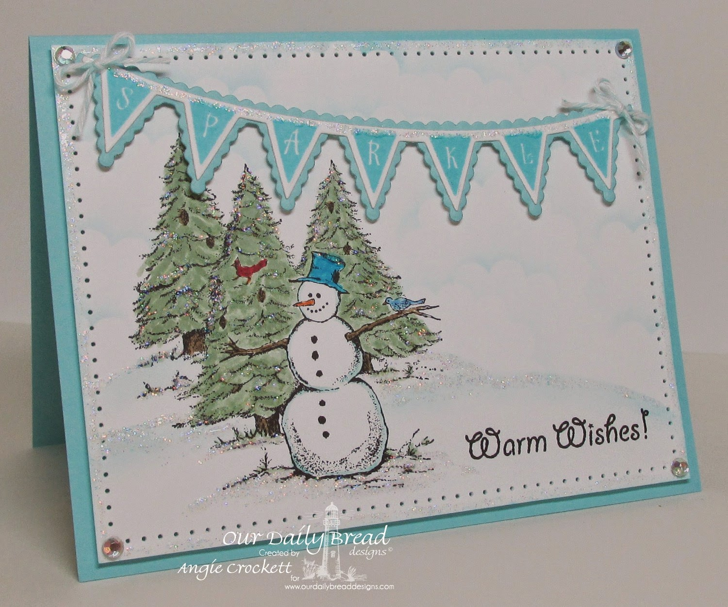 ODBD Warm Wishes, Christmas Pennant Row, ODBD Custom Pennant Row Dies, Card Designer Angie Crockett