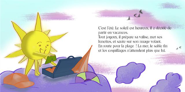 """Double page illustrée de la maquette du livre """"Le soleil part en vacances"""", écrit par Valérie Jeanne et illustré par Florence Gobled"""
