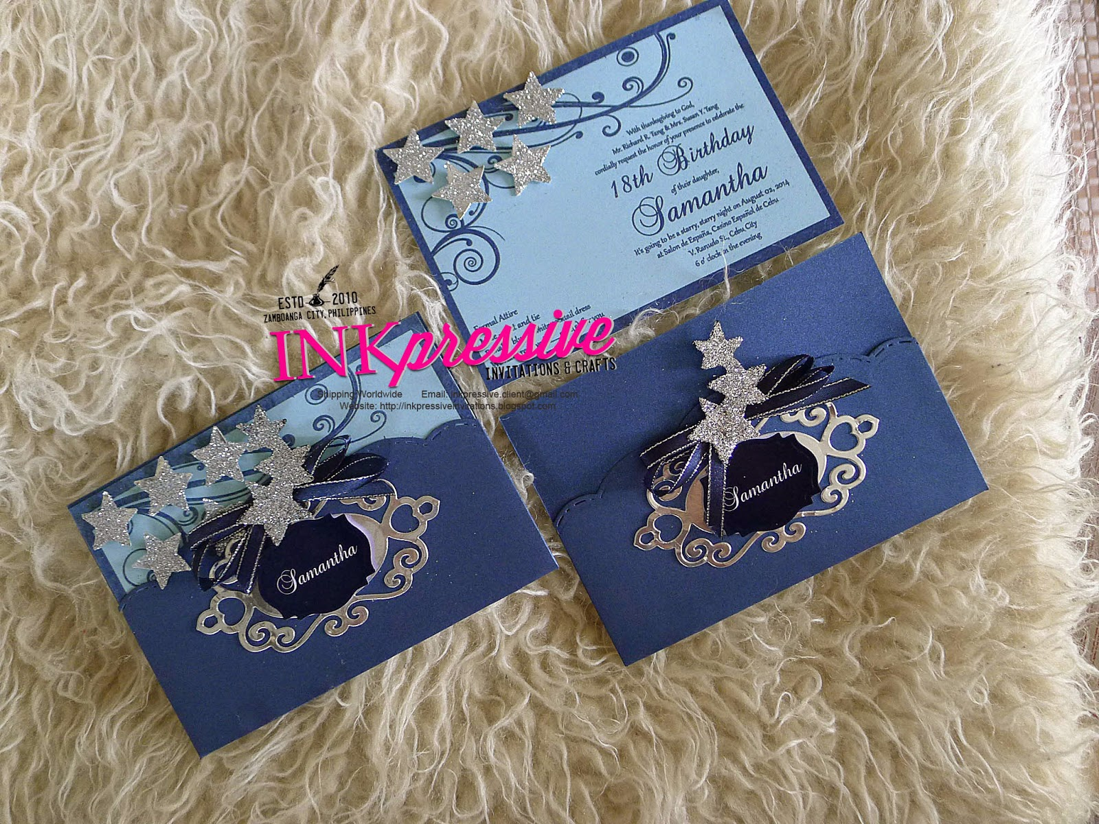 Starry Night Debut Royal Blue And Silver Debut Invitations