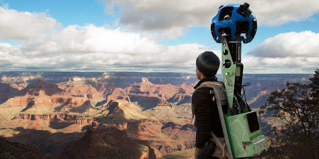 A Google Maps Trekker partner takes photos of the Grand Canyon.