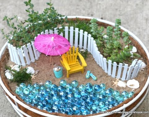 miniature garden with a beach theme