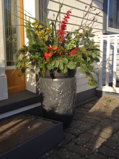 Christmas planter, red flowers