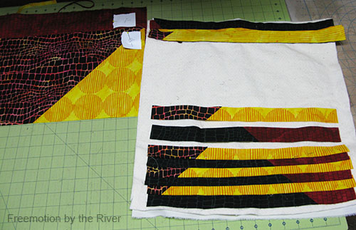Cutting the fabric into strips