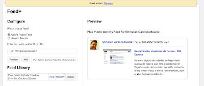 Vista previa del Feed de RSS de Google Plus correctamente configurado