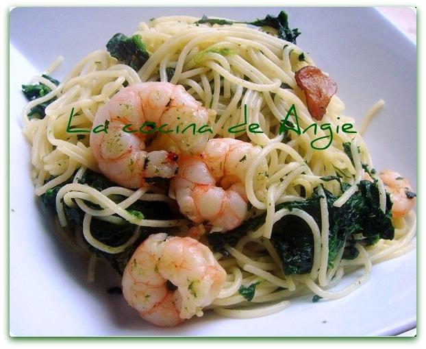 Espaguetis con gambas y espinacas - Espaguetis con gambas y champinones ...