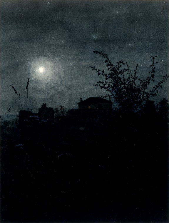 Léon Bonvin  French c1864, Moonlit Scene with Houses in Background as seen on linen & lavender (l&l)