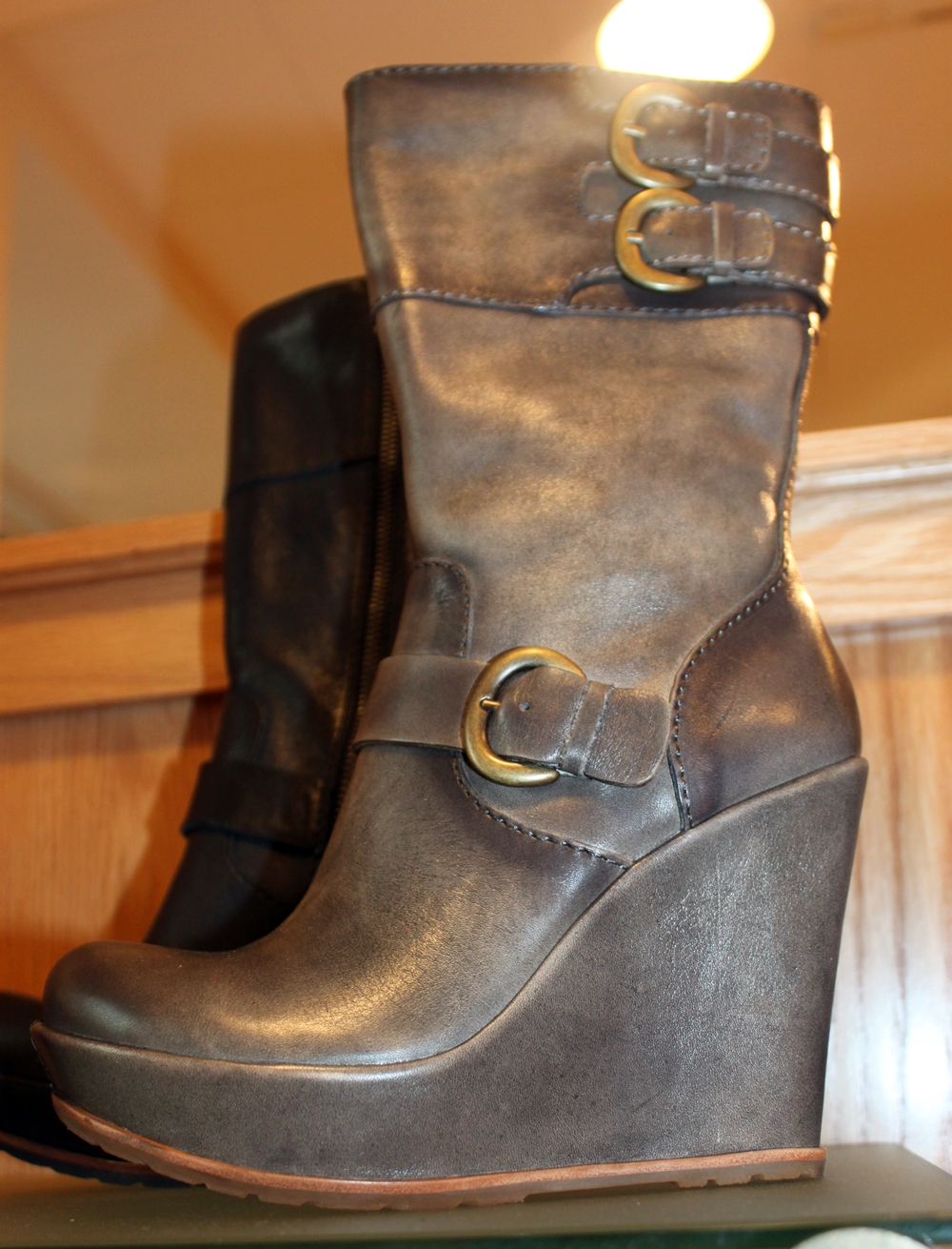shoe of the day kork ease wedge boot shoeography