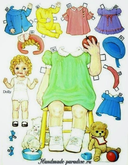 Винтажные куклы из бумаги с одеждой для вырезания 4