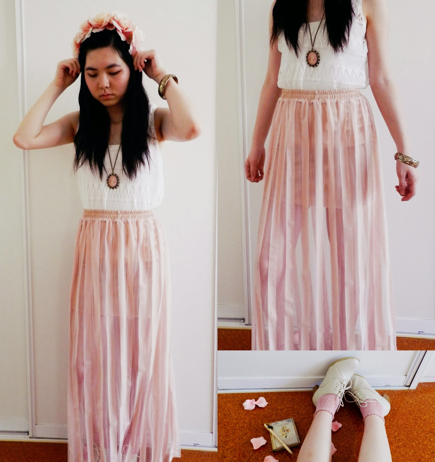 maxi skirt, pink, chiffon, pleated, white, lace, cream, brogues, rosy, floral, flower crown, lana del rey