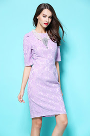 New 2017 Half Sleeve Lilac Embroidery OL Dress