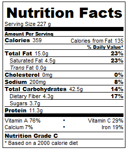 Vegan Pot Pie nutrition facts