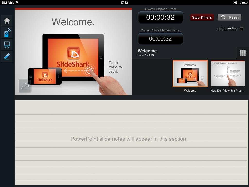 Slideshark Praesentationsbildschirm