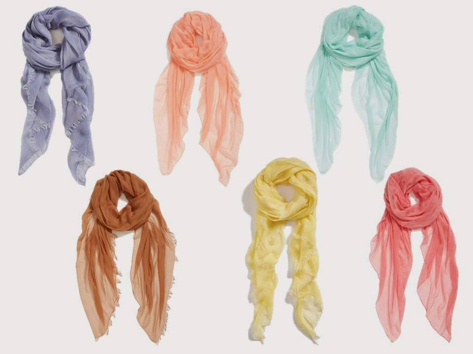 six pastel woven summer scarves