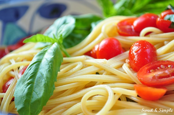 Sweet Simple Angel Hair Pasta With Cherry Tomatoes