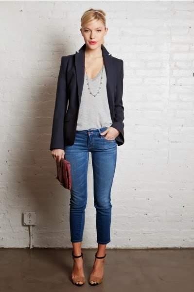 Blazer and Belted T-Shirt
