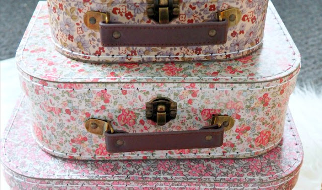 floral suitcases