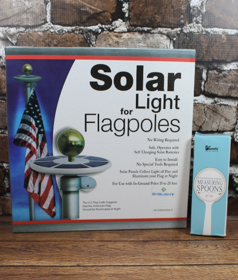 solar power flagpole light and stainless steel measuring spoons. Black Bedroom Furniture Sets. Home Design Ideas