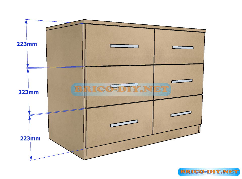 plano y medidas como hacer una comoda con gavetas de mdf