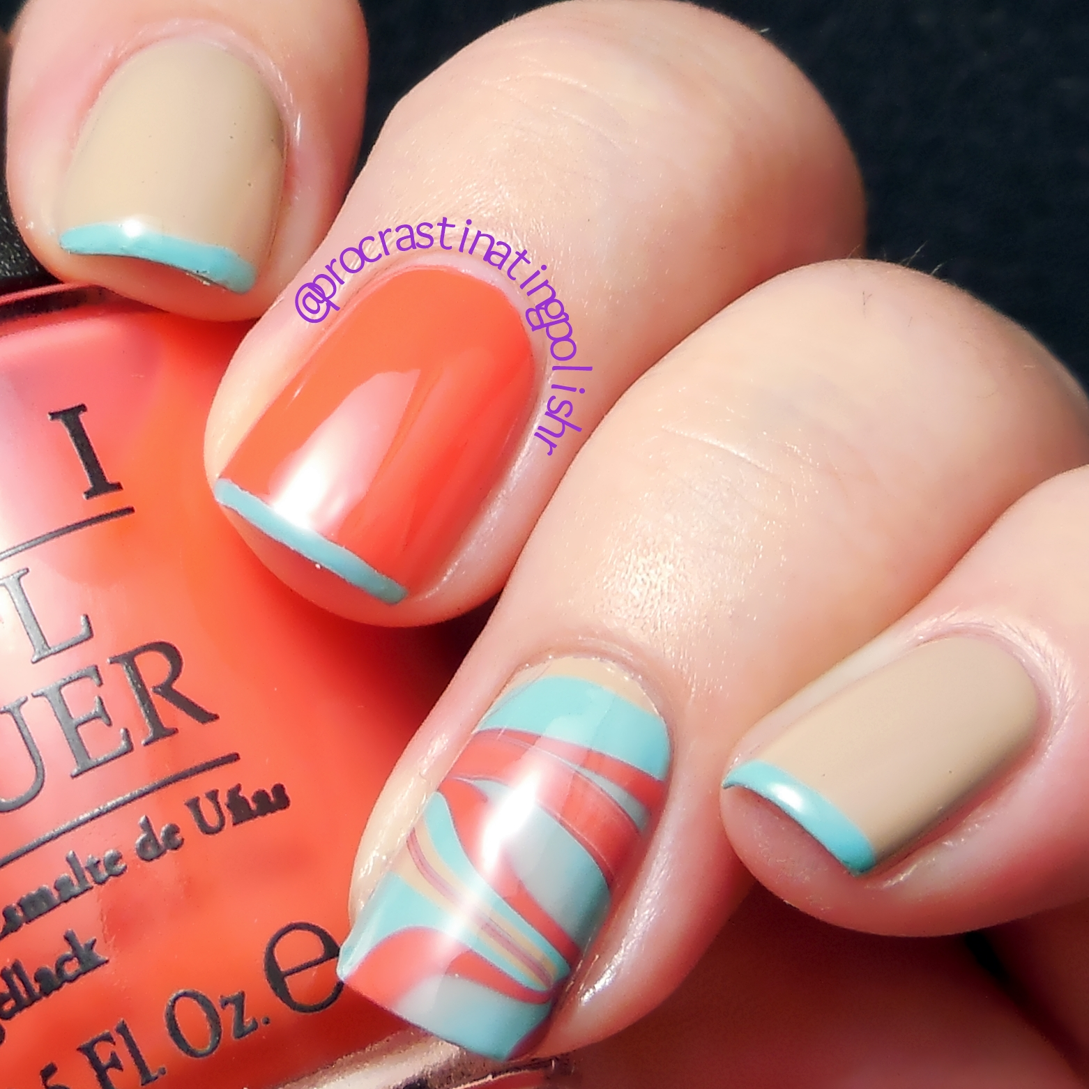 Tri Polish Tuesday - Turquoise Tips and Water Marbling Nail Art
