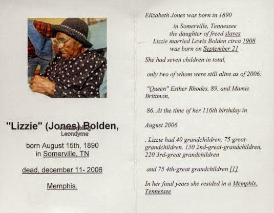 Bidprentje, Lizzie Bolden 1890-2006. Verzameling Leondyme.