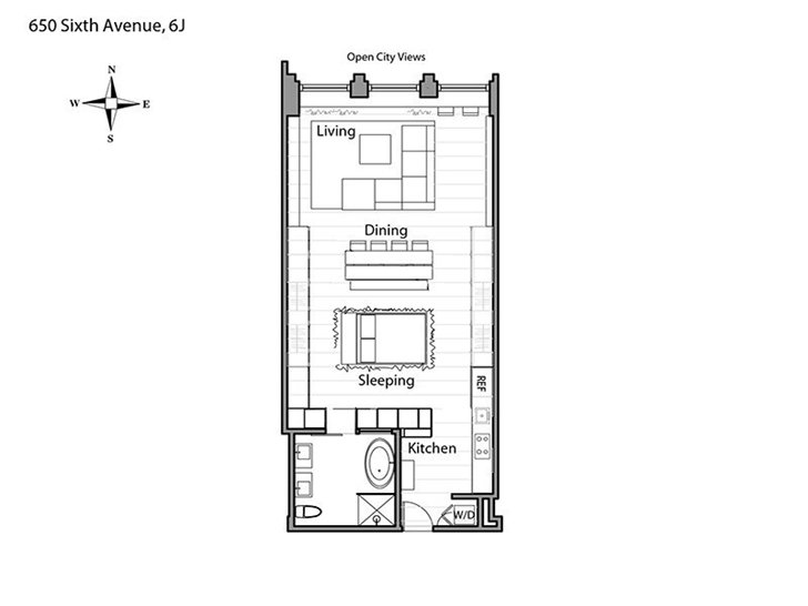 Floor plan of small apartment in New York by Rick Joy
