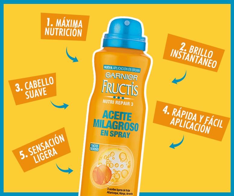 Por lo mismo nos animamos a probar el Aceite milagroso en spray de Fructis de Garnier ($4.490 , US$6,6 app), ya que prometía alejar el efecto grasoso que