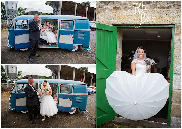 love umbrellas, love umbrellas wedding, camper van wedding, high house farm brewery wedding, barn wedding, barn wedding northumberland, northumberland wedding photographer, quirky wedding, katie byram photography, matfen barn wedding,