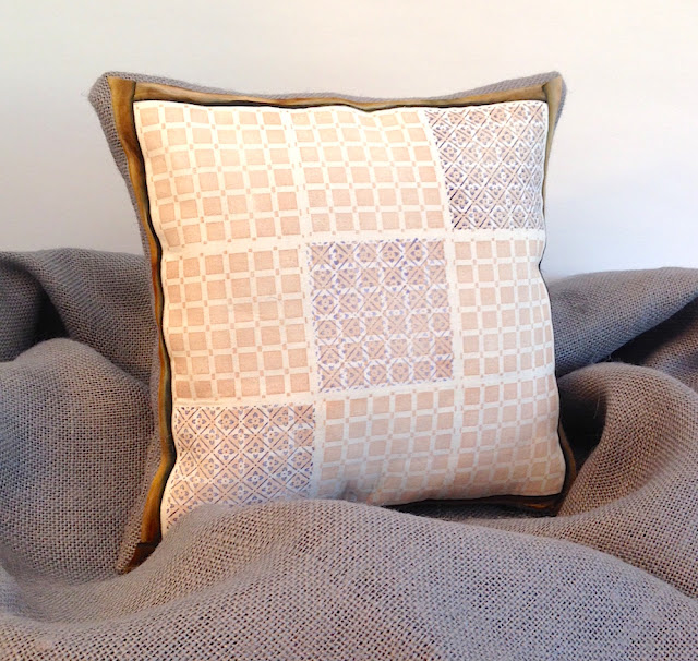 stamp fabric and burlap pillow lisa fulmer