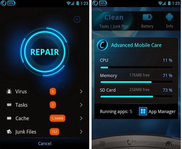 Advanced Mobile Care-Android cleaning app