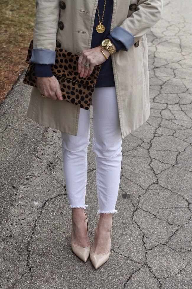 free people jeans, kate spade heels, clare v clutch, vita fede bracelet