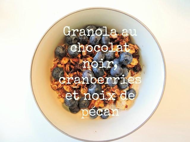 recette de granola aux éclats de chocolat noir, cranberries et noix de pécan