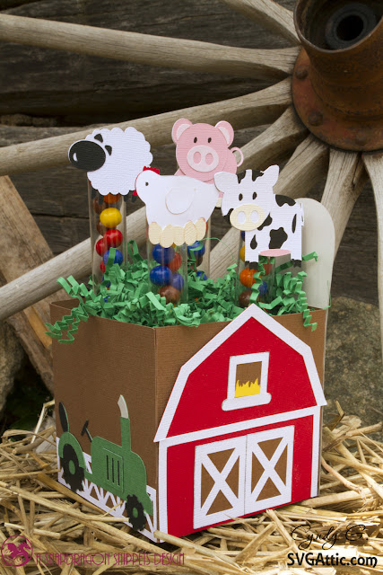 Barn box with cow, pig, sheep, and chicken
