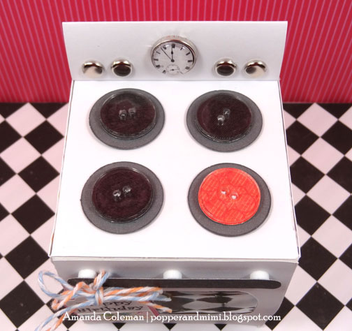 DIY Oven Cupcake box with FREE cut file. Use brads and buttons to create the burners.  So cute!
