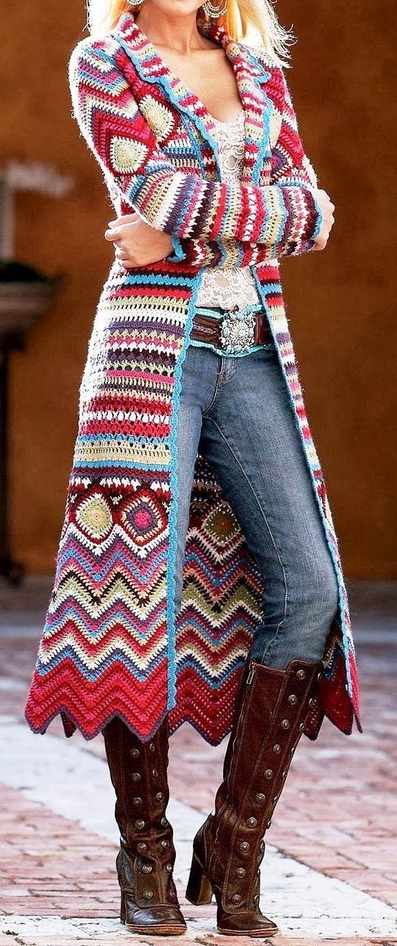 Amazing Colorful Amazing Colorful Crochet Long Sweater and Interesting Long boots, Jeans