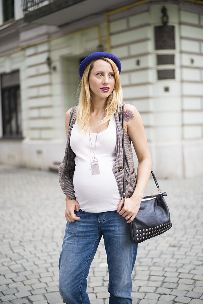 Skinny Buddha maternity wear vest purple hat