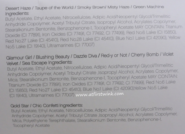 ingredients of the e.l.f. Essential 14-Piece Nail Cube