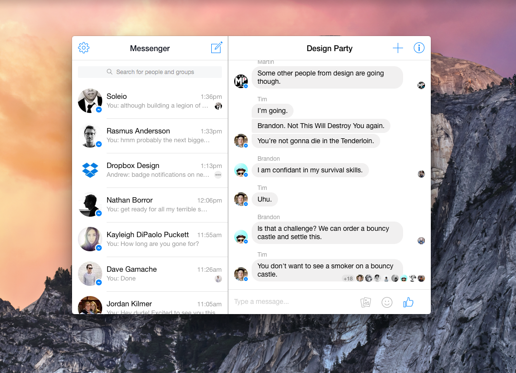 Facebook Messenger for Mac OSX