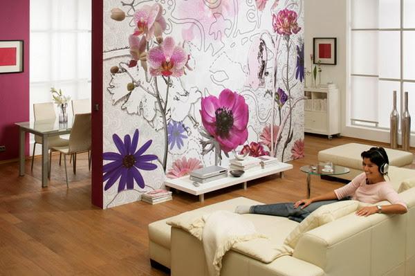 D coration salon avec papier peint floral d coration salon d cor de salon - Papier peint 4 murs salon ...