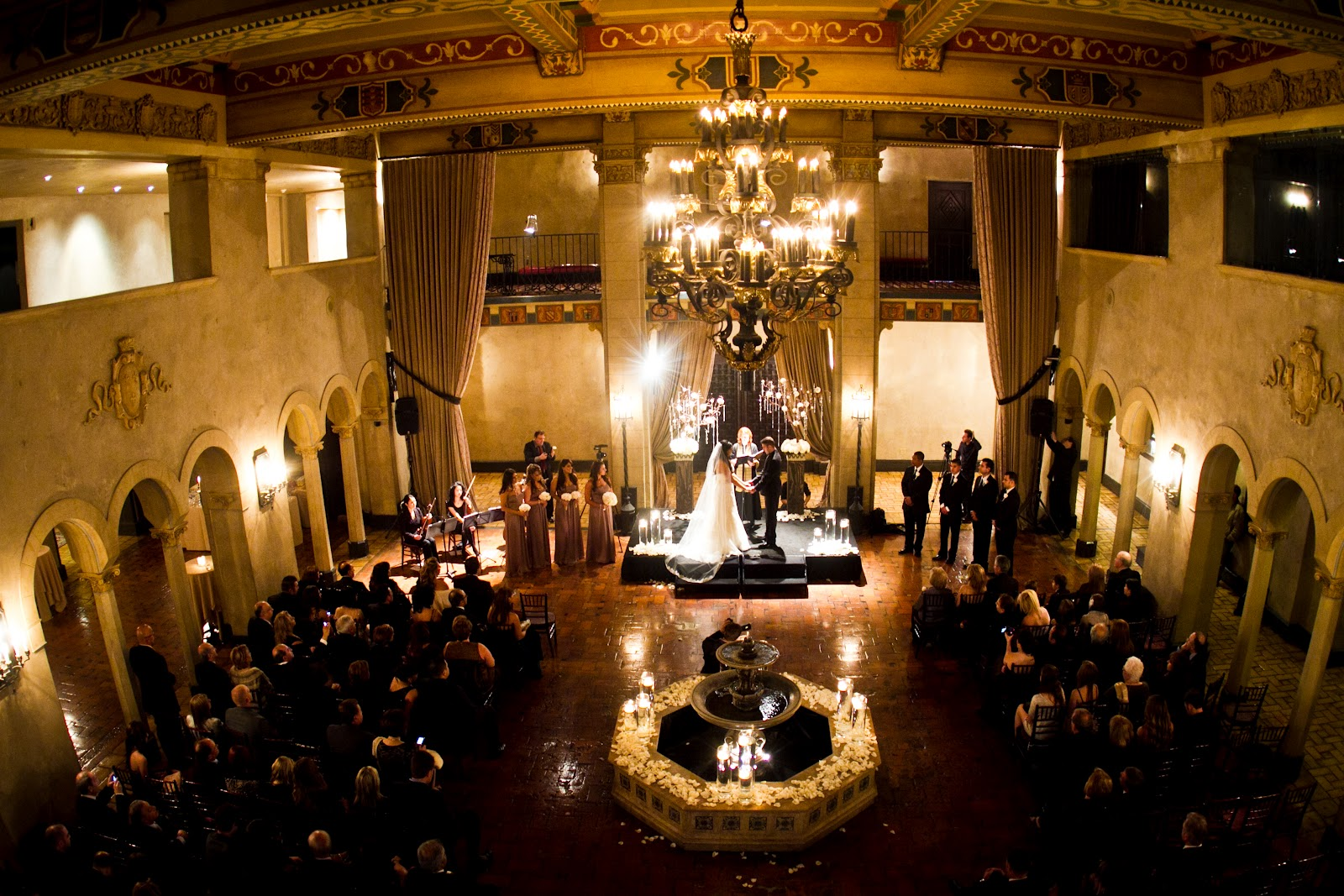 The Ceremony Was Held In Historic Lobby Of Hotel Gorgeous Architecture Is Insane Mixed With Dark Wood Furniture