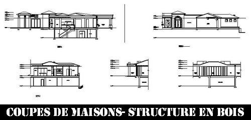 Coupes de maisons structure en bois Fichier autocad à télécharger