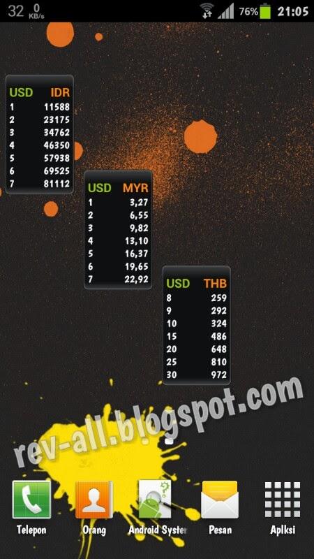 Contoh widget Currency Converter - Konverter mata uang untuk android beserta widgetnya ringan dan mudah (rev-all.blogspot.com)