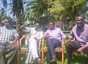 Magerer Langat, Ababu Namwamba, Dr Alfred Mutua and Gideon Mungaro at Serena Beach Hotel yesterday