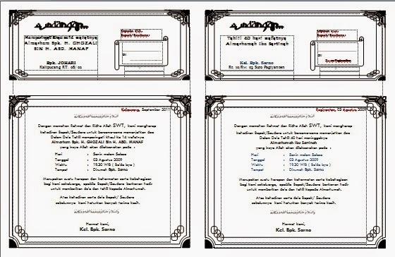 Contoh template-template undangan yang saya postingkan disini bisa ...