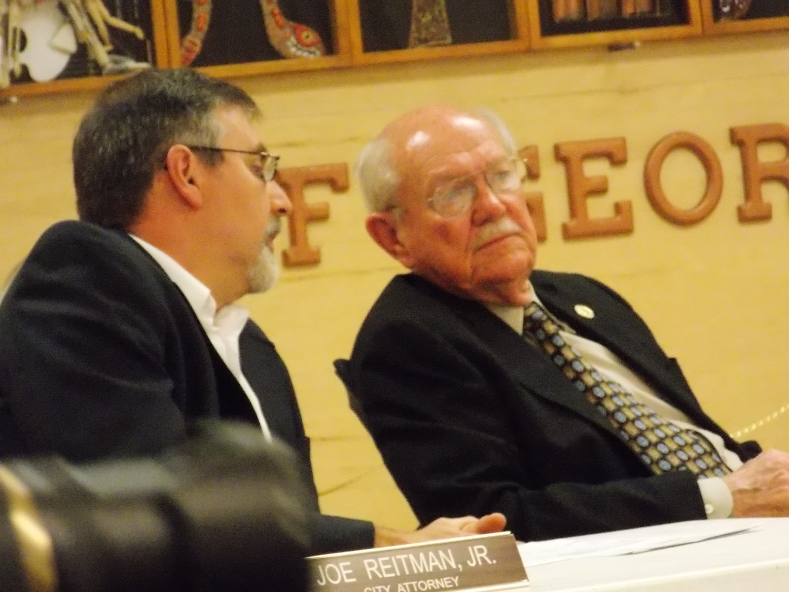 city attorney joe reitman jr talks to mayor ivie hoping to hear some precise language