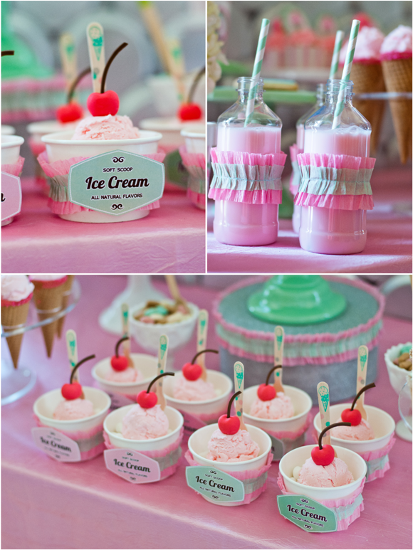 Ice Cream Parlor Desserts Table and Printables