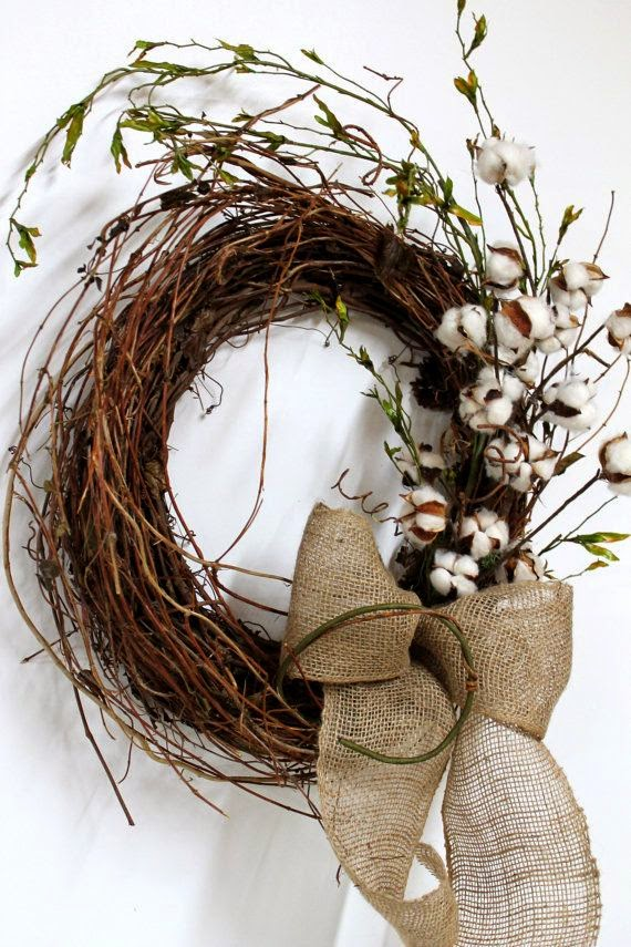 The Essence Of Home Cotton Grapevine Wreath