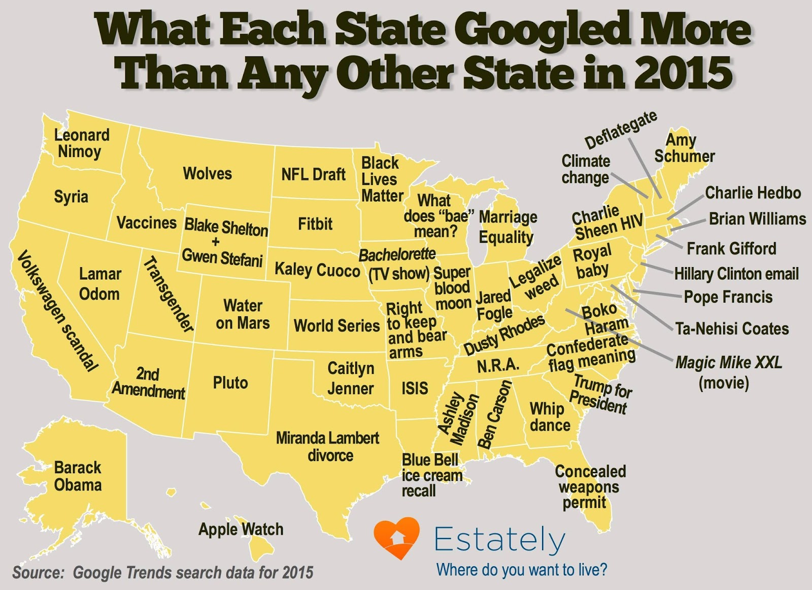 What each State googled more than any other State in 2015