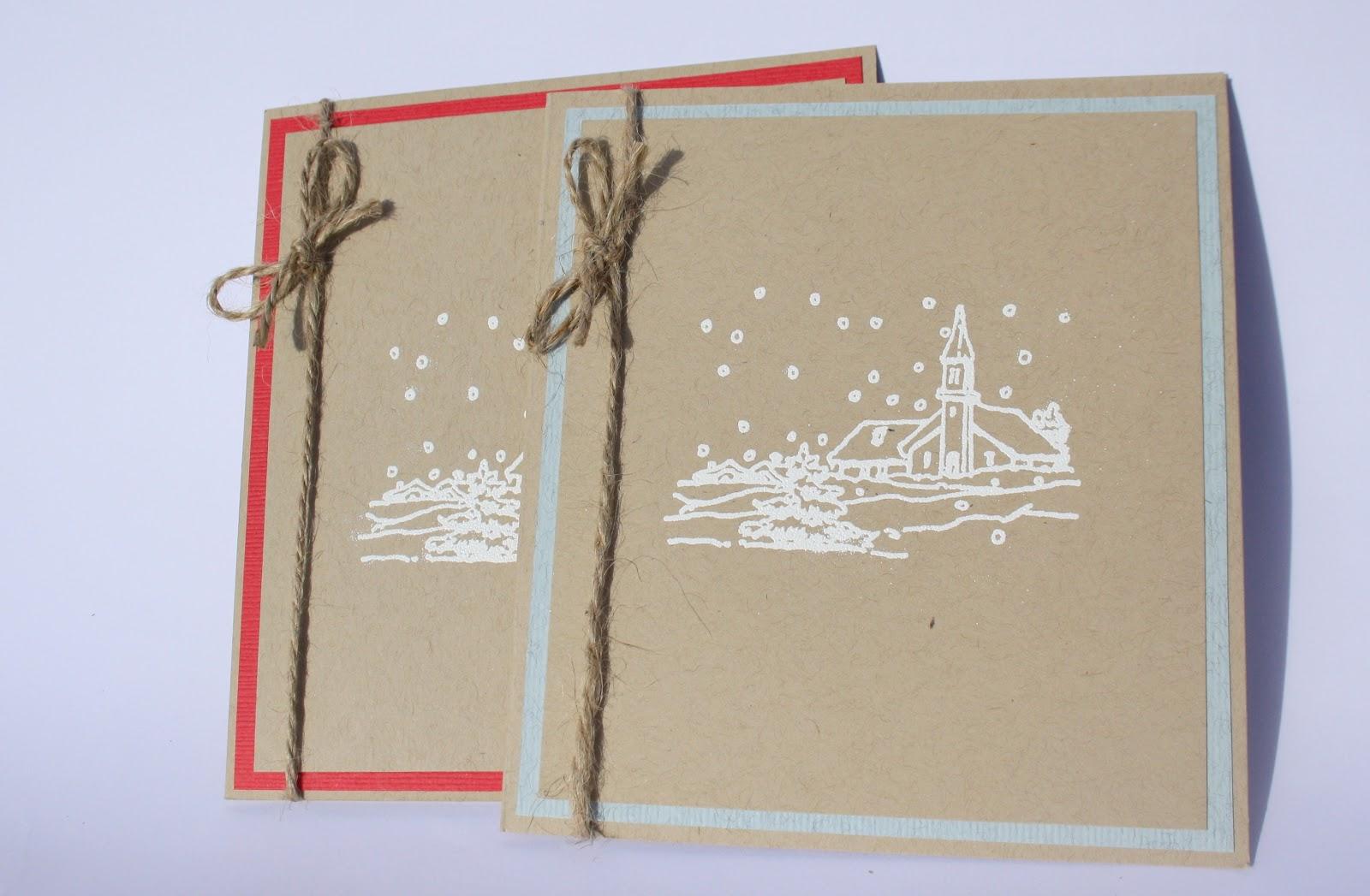 Делаем простую новогоднюю открытку из крафт -бумаги Ярмарка Мастеров