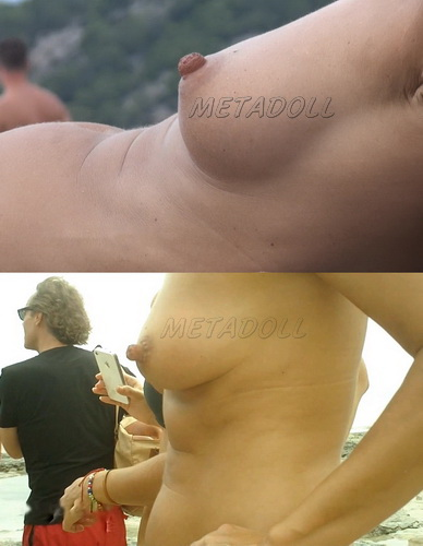 Puffy Beach 20_1-4 (Amateur at the beach has perky tits and puffy nipples)