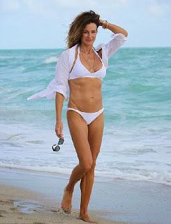 English: Kelly Bensimon White Bikini Miami